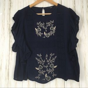 American Eagle Embroidered Flutter Sleeve Blouse